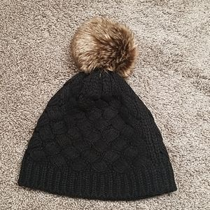 J Crew Faux Fur Pom Pom Black Beanie Knit Hat